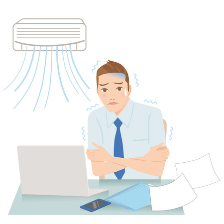office worker: man who gets cold with an air-conditioner