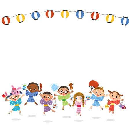 yukata: Children and festival Illustration
