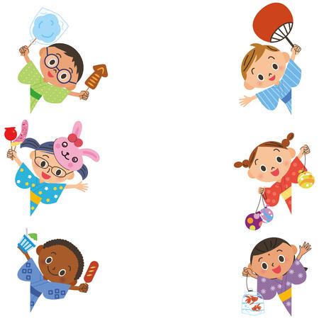 yukata: child and festival Illustration