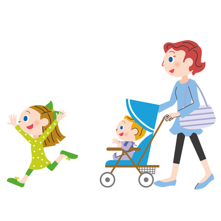 going: Mom and child Illustration