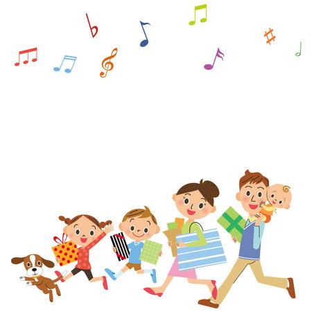 shop in families Stock Illustratie