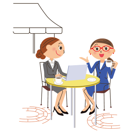 note pc: Office worker cafe PC Illustration