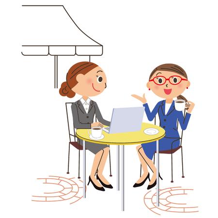Office worker cafe PC Illustration