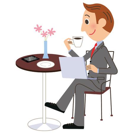 nternet: Office worker cafe PC Illustration