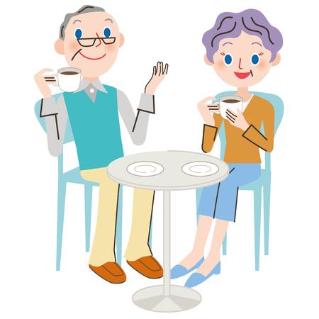 café café vieille fille père