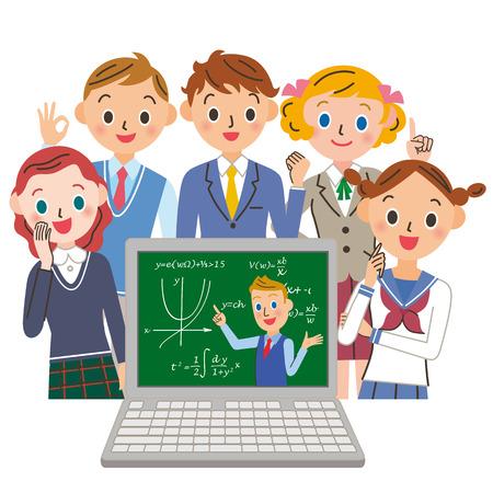 PC로 수업을 듣는 학생
