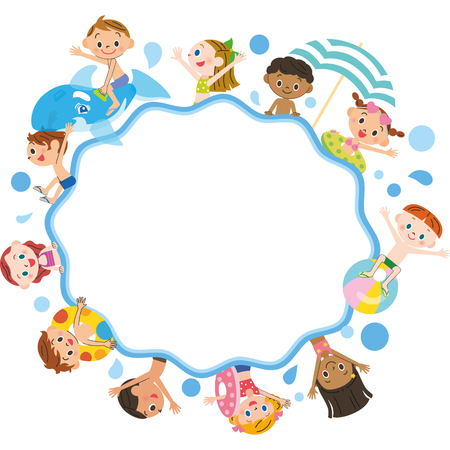 midsummer: Children frame sea bathing