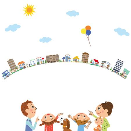 家族や都市の景観  イラスト・ベクター素材