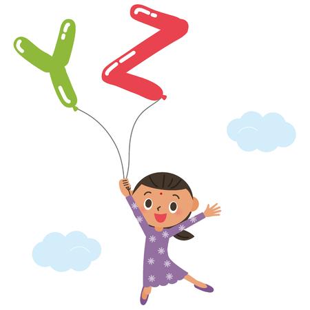 blown: balloon and child of the alphabet Illustration
