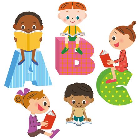 classmate: Children reading a book Illustration