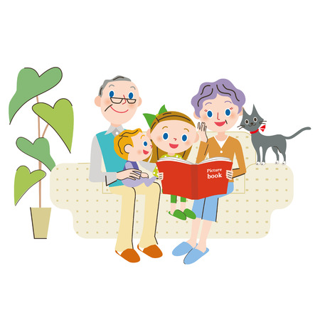 person reading: Grandchild and reading Illustration