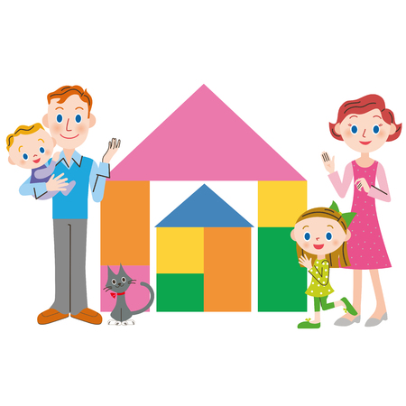 building block: house and family of the building block Illustration