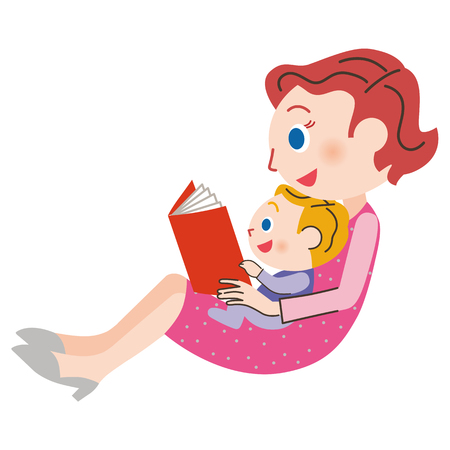 Mom who reads a book Illustration