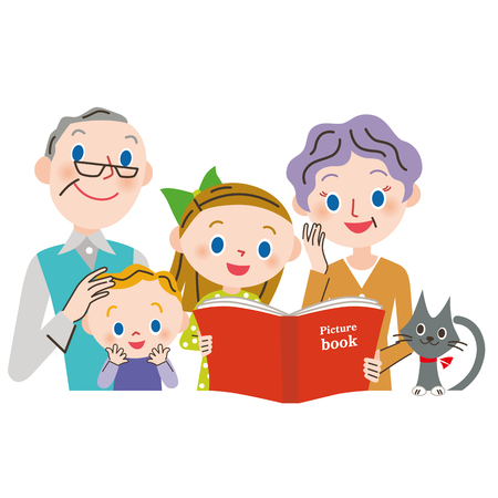 person reading: read a book to a grandchild Illustration