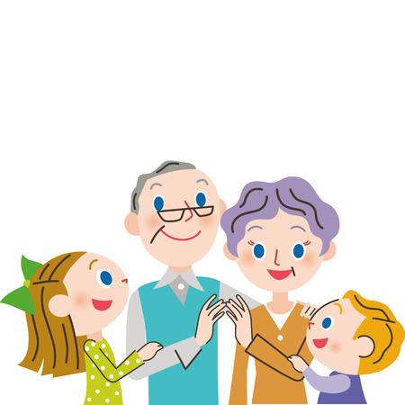grandchild: grandchild and old couple. Vector Illustration