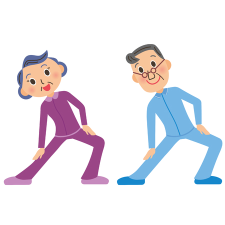 old couple who does gymnastics Stock Illustratie