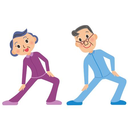 oud echtpaar dat gymnastiek doet