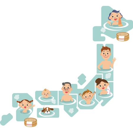 steam bath: Japanese hot spring Illustration