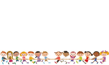 Kinderen doen van een sleepboot van de oorlog