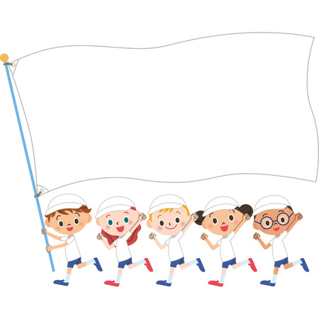 child smile: Group of athletic meet innocence Illustration