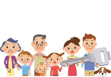 family moving house: Three-generation family having the key to house Illustration