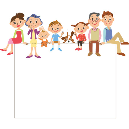 Three-generation family, big family  イラスト・ベクター素材