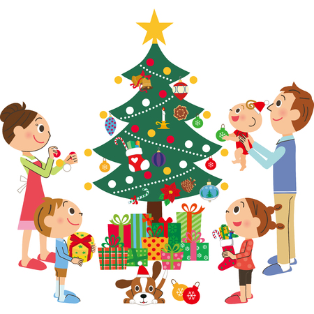 child smile: It is decorated by a Christmas tree Illustration