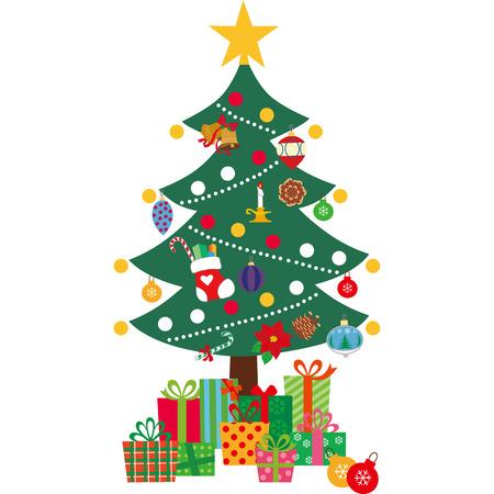 Árbol, navidad, presente, vivo, ejemplo, vector, ornamento, estrella, decoración, sonrisa, árbol de navidad Ilustración de vector