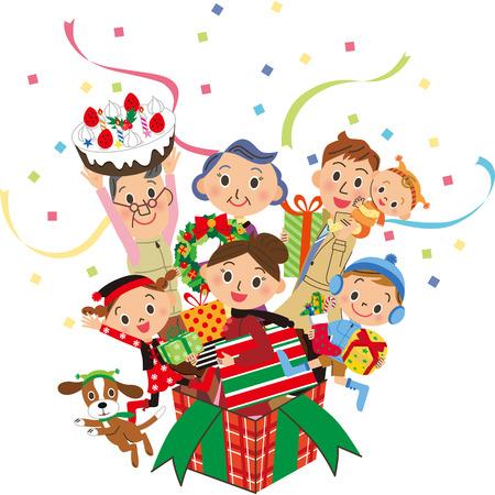 christmas present box: Christmas present box three-generation family