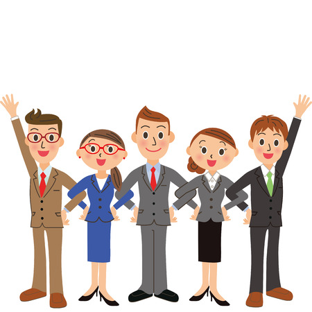 folding arms: Office worker meeting to make ability Illustration