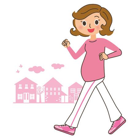 妊娠中の女性の歩み  イラスト・ベクター素材