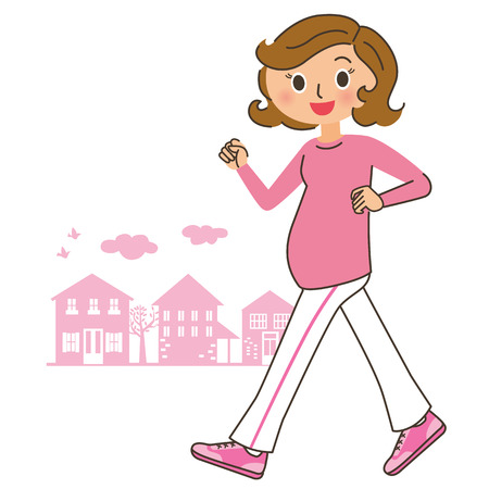 pregnancy exercise: Walking of the pregnant woman Illustration