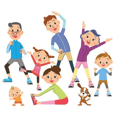 De boom-generatie familie die gymnastiek doet