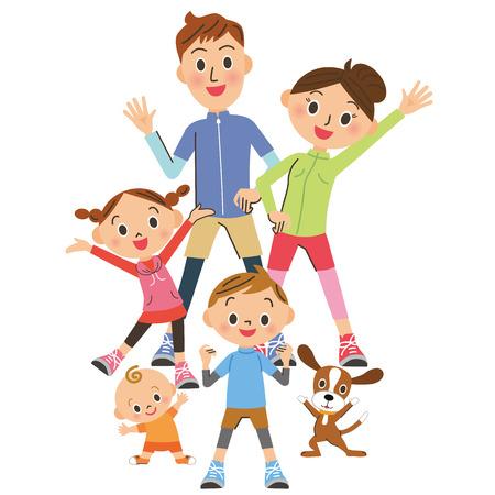 Padres e hijos que hacen gimnasia Ilustración de vector