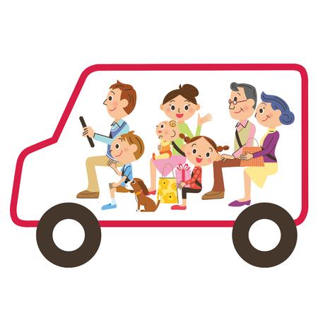 3 世代家族のドライブのために行く  イラスト・ベクター素材