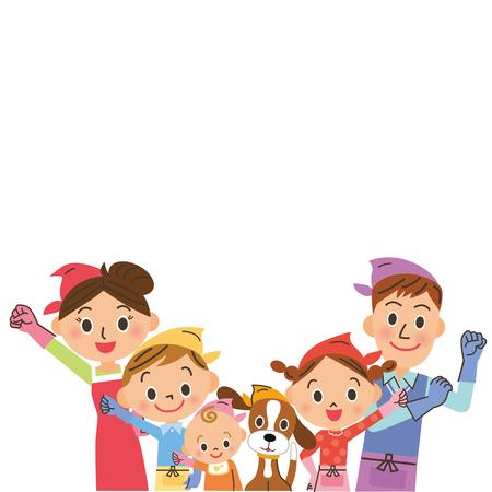 가족, 청소 포즈
