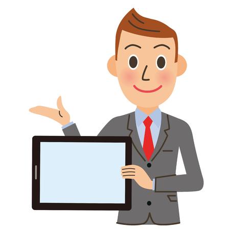 Male office worker having a tablet
