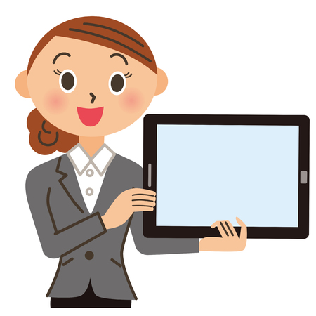 Woman office worker having a tablet
