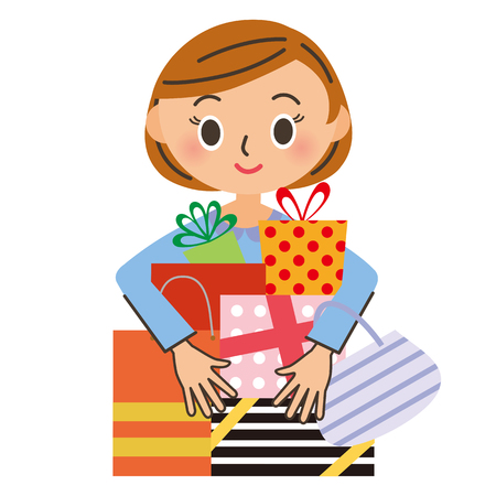 retail sales: Shopping and woman Illustration