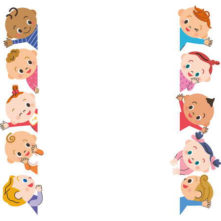 cute baby girls: Baby meeting frame Illustration