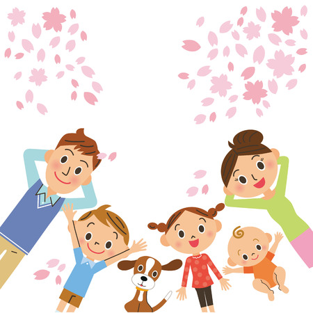 lie down: Cherry blossoms and family Illustration