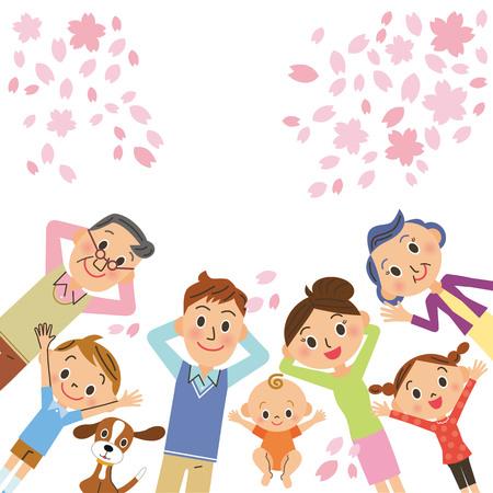 桜の花や 3 世代家族  イラスト・ベクター素材