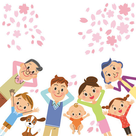 family: Cherry blossoms and three-generation family