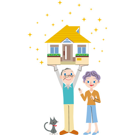 real people: An old couple and house Illustration