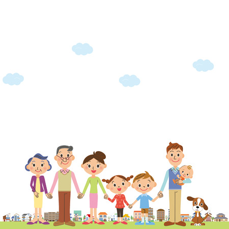 smiling child: Three generation family and town.