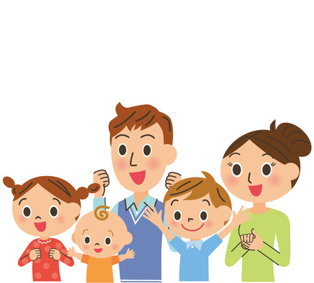 The family who is pleased Stock Illustratie