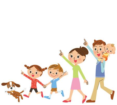 Familia caminando feliz