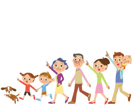 Close three-generation family walks