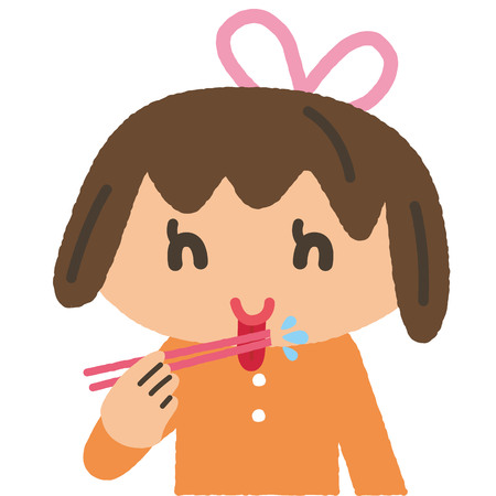 The child who licks the chopsticks