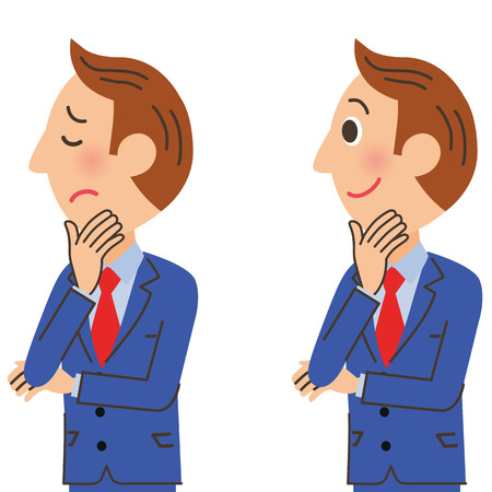 is troubled: Office worker expression Illustration